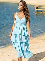 Летний женский сарафан голубого цвета р.44-46