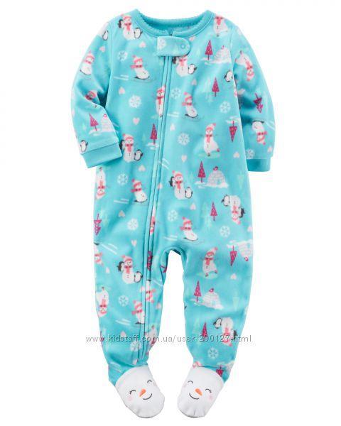 Микрофлисовый человечек слип пижама Снеговички Carter's (США) (Размер 8Т)