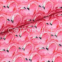 Хлопковая ткань Фламинго сердца