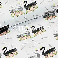 Хлопковая ткань Лебеди в цветах (в подарок 5 бирок за каждый метр)