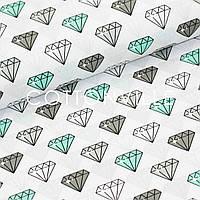 Хлопковая ткань Бриллианты мятно-серые