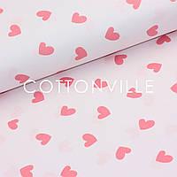Бязь Сердечки малиновые на розовом