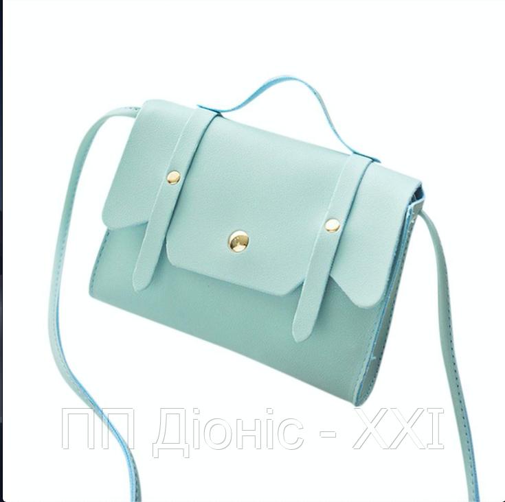 Женская сумка на плечо голубого цвета