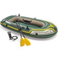 Двухместная надувная лодка Intex 68347 Seahawk 2 Set, 236 х 114 х 37 см,веслами и насосом