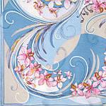 """Платок шелковый Павлопосадский (жаккард) """"Танцующие орхидеи"""" размер 84х84 см. рис.1444-2, фото 2"""