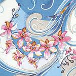 """Платок шелковый Павлопосадский (жаккард) """"Танцующие орхидеи"""" размер 84х84 см. рис.1444-2, фото 3"""