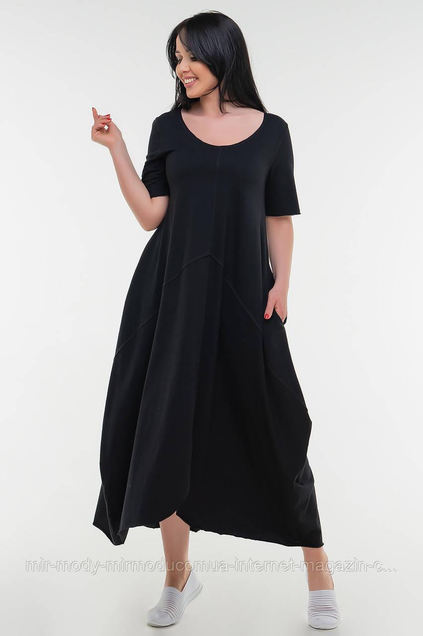 Летнее платье трапеция черного цвета купить в Украине (3 цвета) с 50 по 54 размер  (влн)