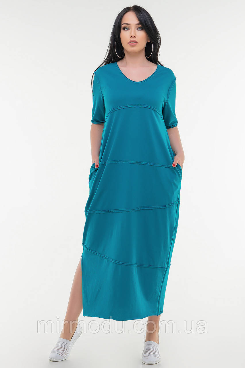 Летнее платье мешок голубого цвета купить в Украине (4 цвета) с 50 по 54 размер  (влн)