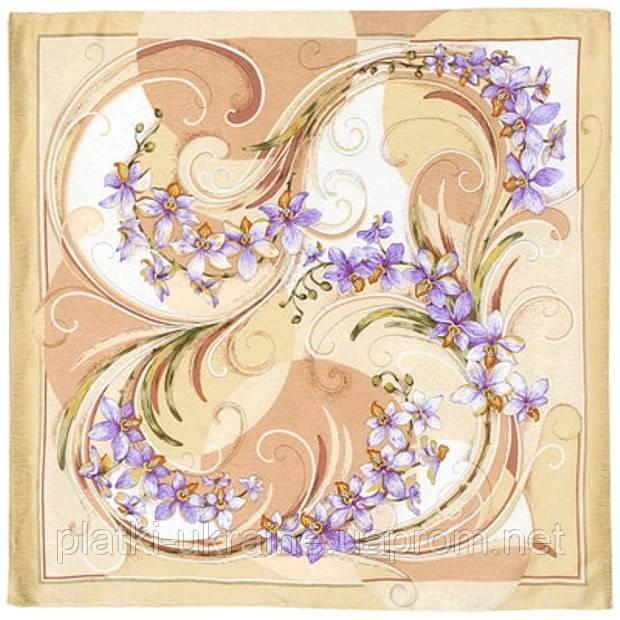 """Платок шелковый Павлопосадский (жаккард) """"Танцующие орхидеи"""" размер 84х84 см. рис.1444-3"""