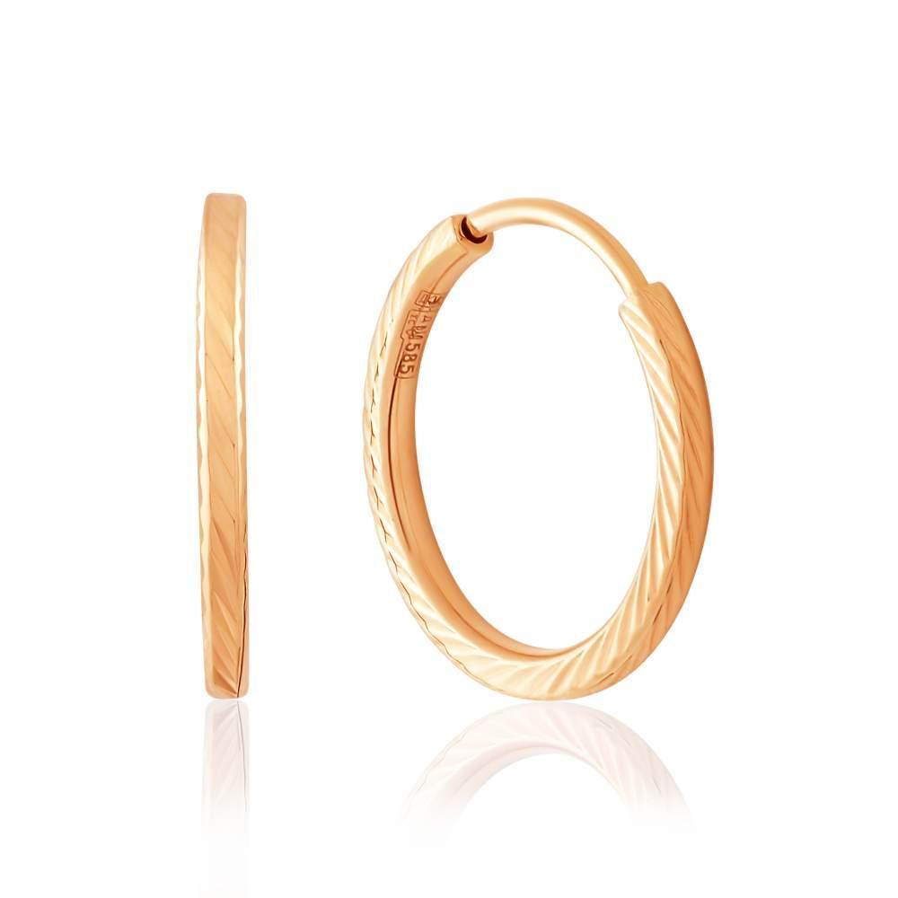 Золотое серьги-кольца с алмазной гранью, С005/1_ Eurogold