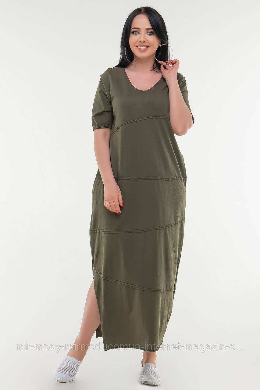 Летнее платье мешок хаки цвета купить в Украине(4 цвета) с 50 по 54 размер  (влн)