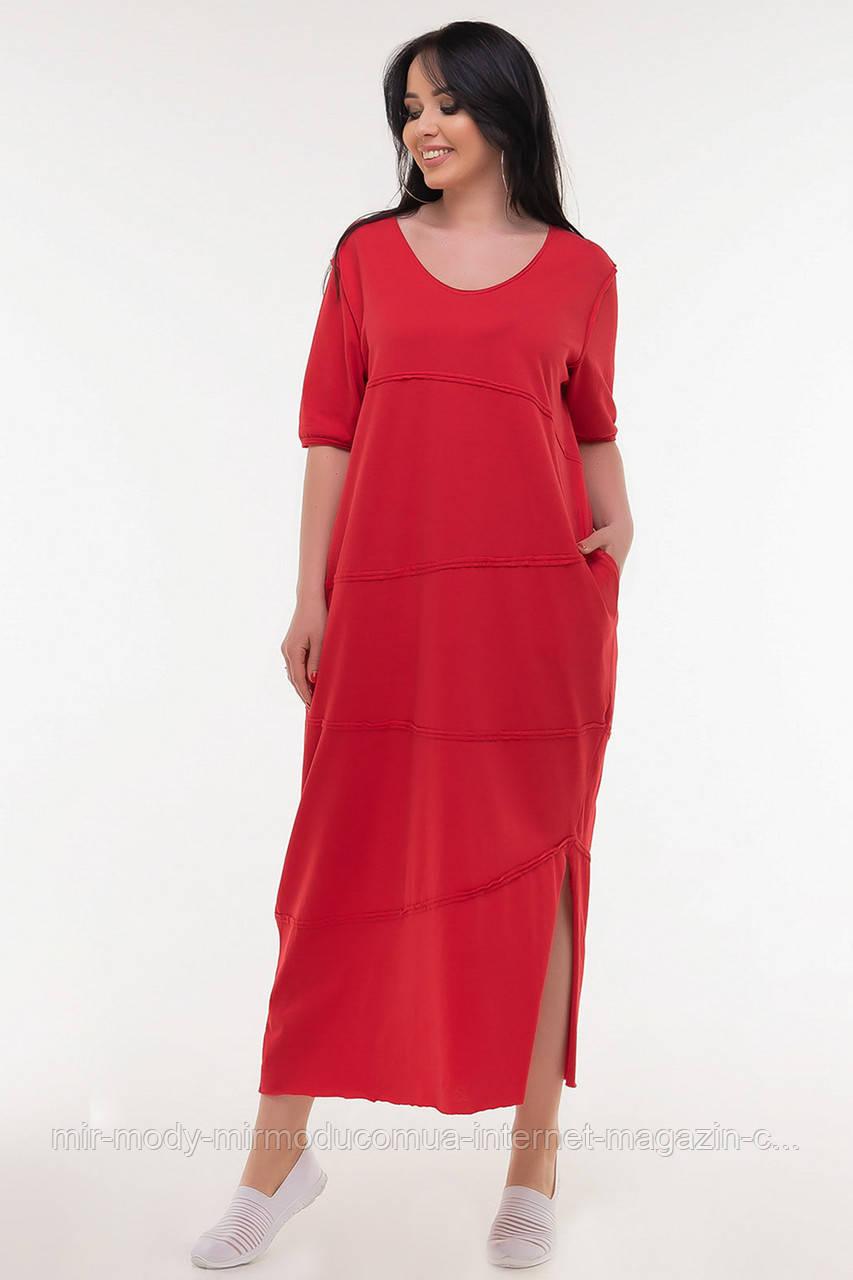 Летнее платье мешок красный цвета(4 цвета) с 50 по 54 размер  (влн)