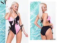 Двухцветный купальник-монокини на завязках норма черный с розовым