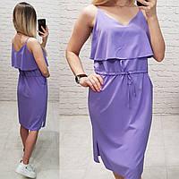 Сукня з воланом на грудях, арт 163, колір ліловий / бузковий, фото 1
