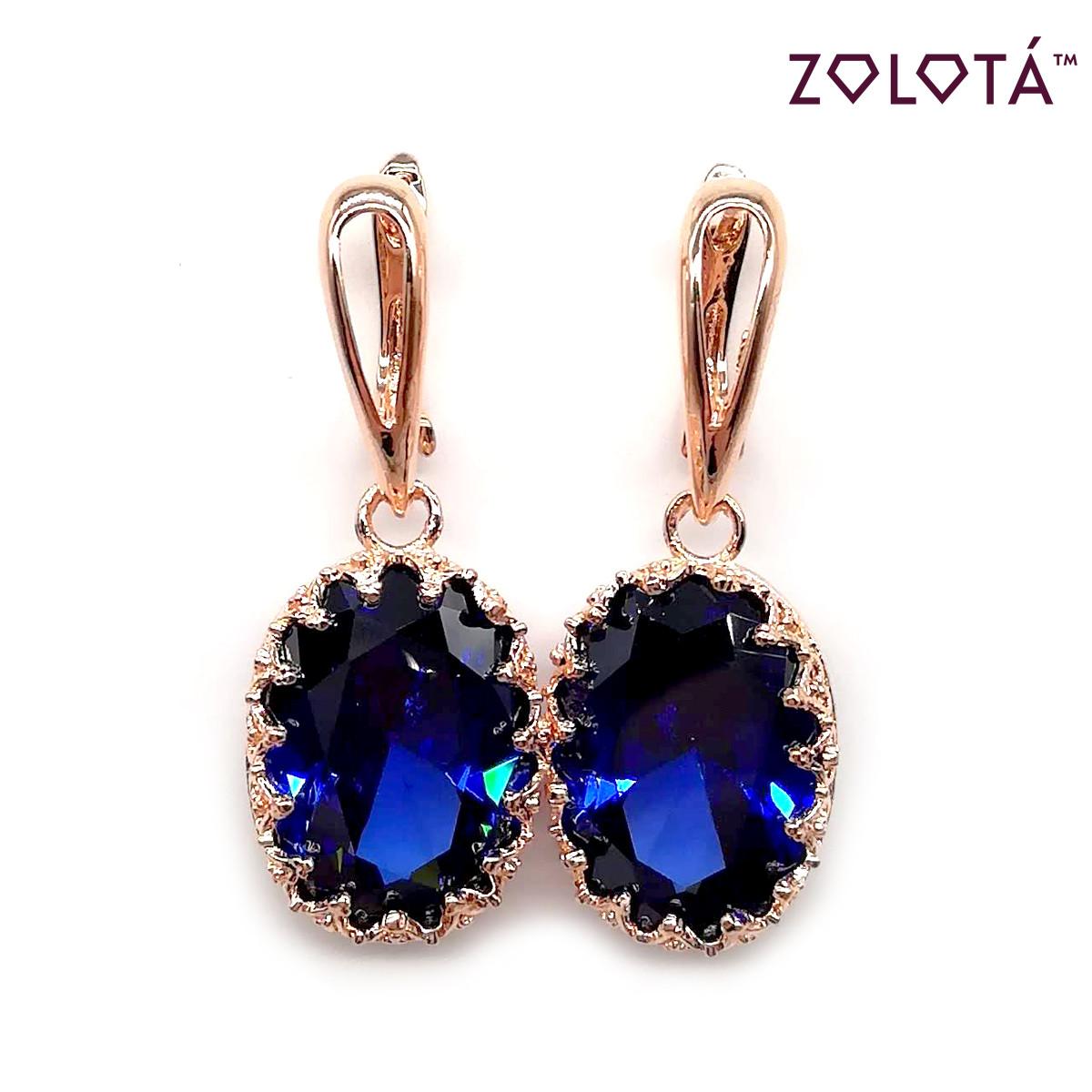 Серьги Zolota с насыщенно-синими фианитами (куб. цирконием), из медицинского золота, в позолоте, ЗЛ00074 (1)