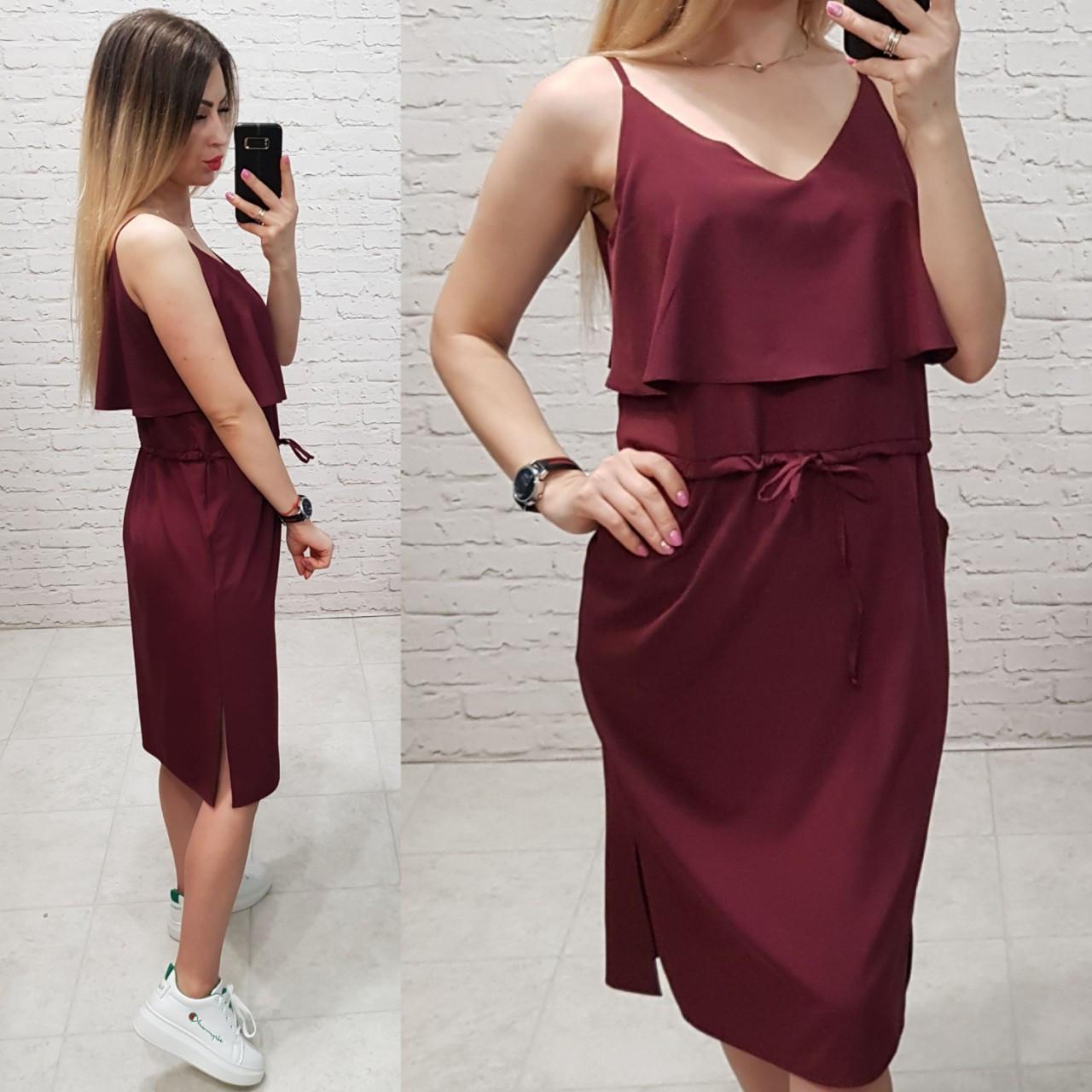 Сукня з воланом на грудях, арт 163, колір бордовий