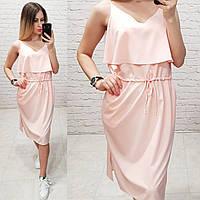 Сукня з воланом на грудях, арт 163, колір пудра, фото 1