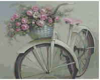 Картина по номерам. Велосипед с корзинкой цветов