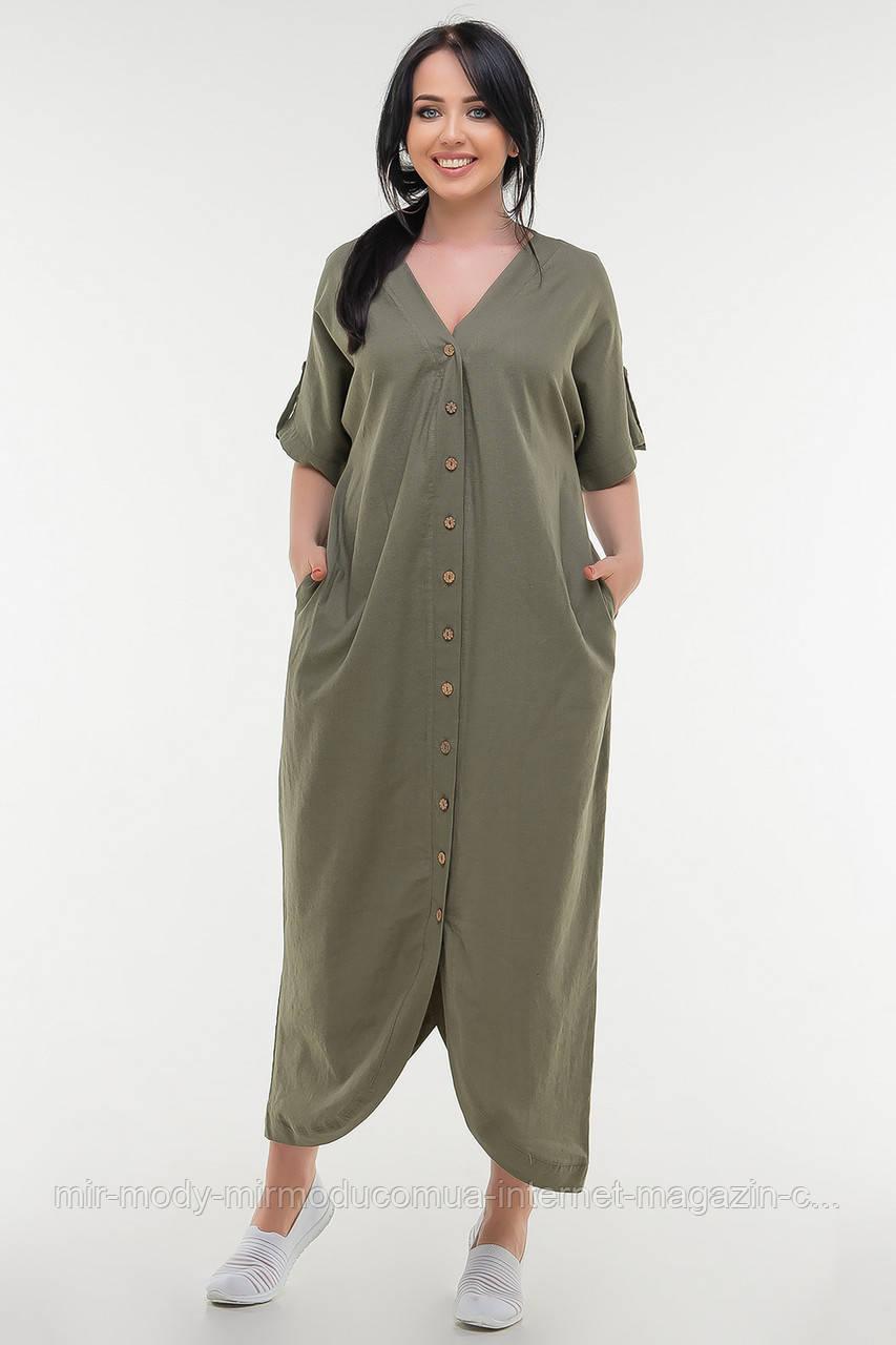 Летнее платье футляр лен черного цвета купить в Украине (3 цвета) с 52 по 56 размер  (влн)