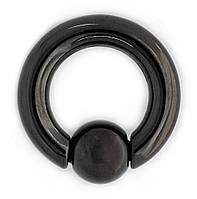 Кольцо Хард (хирургическая сталь, цвет чёрный) (hr-006-007), Размер кольца Кольцо (хир. сталь, цвет чёрный, диаметр 20 мм,толщина 4 мм, шар 8 мм)