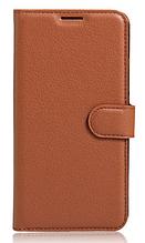 Кожаный чехол-книжка для Huawei Y7 2019 коричневый