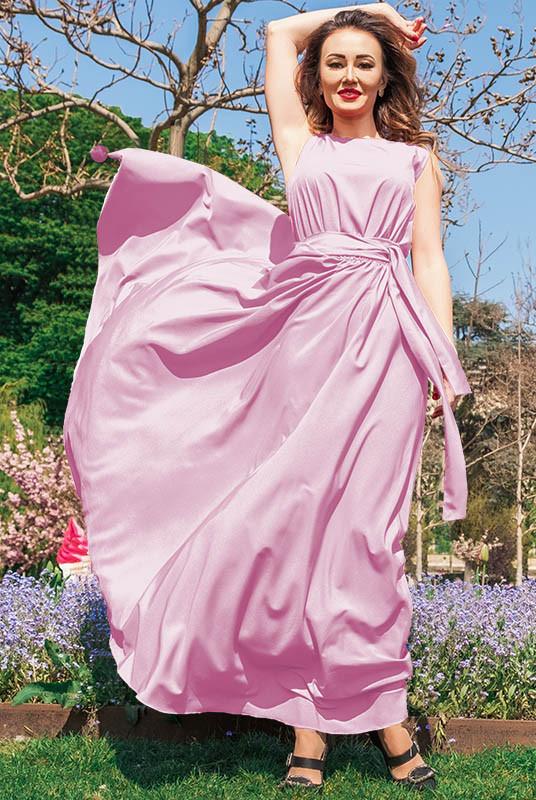 Розовое длинное платье Ларис