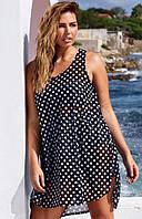 Женское асимметричное платье туника в горошек
