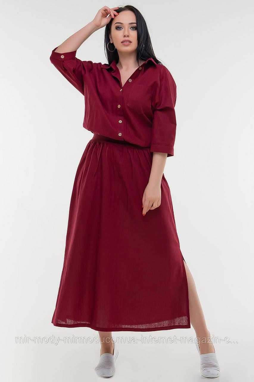 Летнее платье  лен бордового цвета купить в Украине с 50 по 56 размер  (влн)