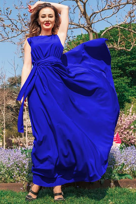 Пышное длинное платье Ларис, электрик