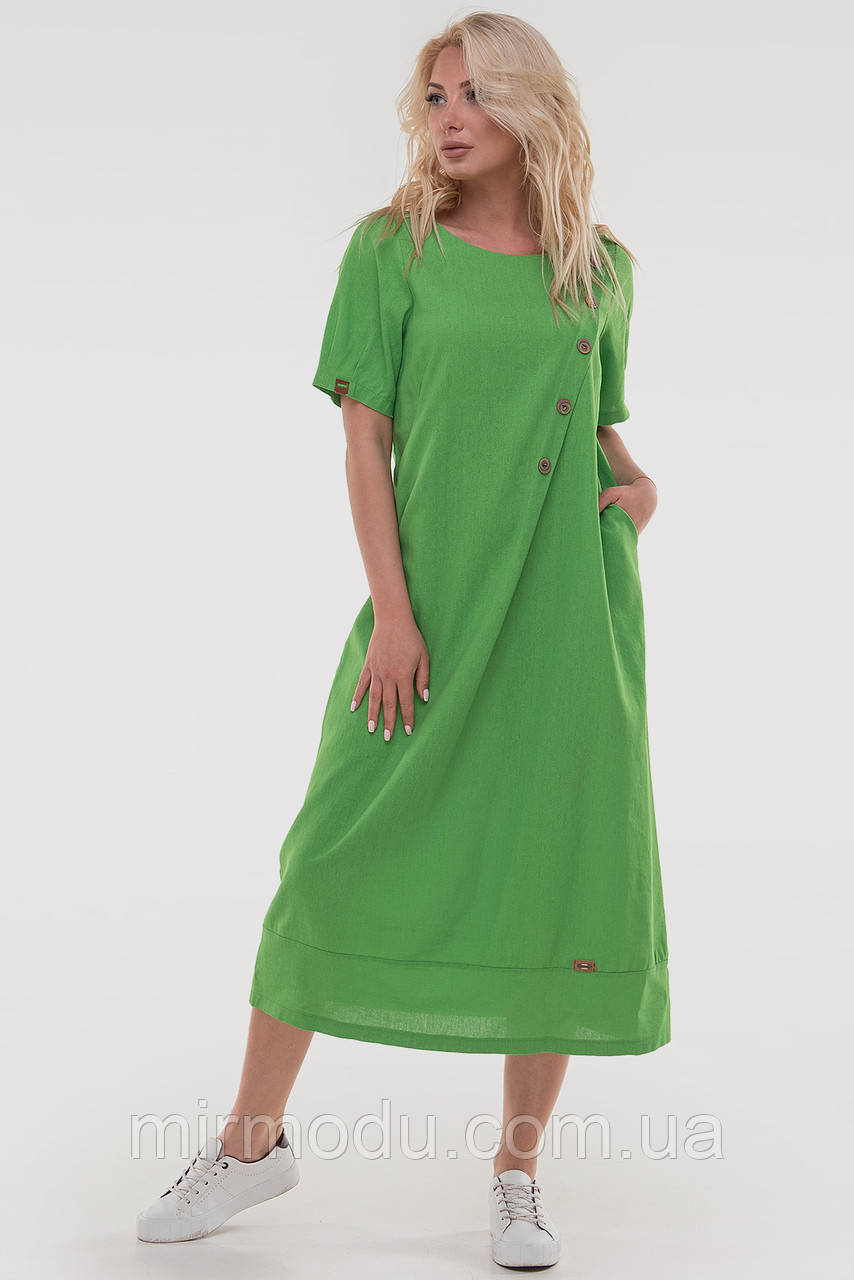Летнее платье трапеция лен зеленого цвета купить в Украине(2 цвета) с 52 по 56 размер  (влн)