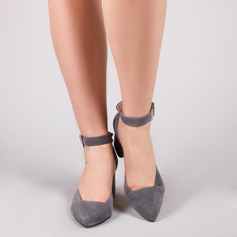 Женские замшевые серые туфли на маленьком каблуке, с ремешком. Натуральная замша. Каблук 6,5 см