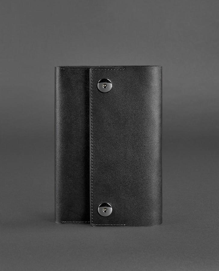 Блокнот кожаный на кнопках, софт-бук черный (ручная работа)