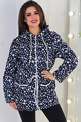 Жіноча демісезонна куртка з плащової тканини без підкладки в горошок розміри 42-46