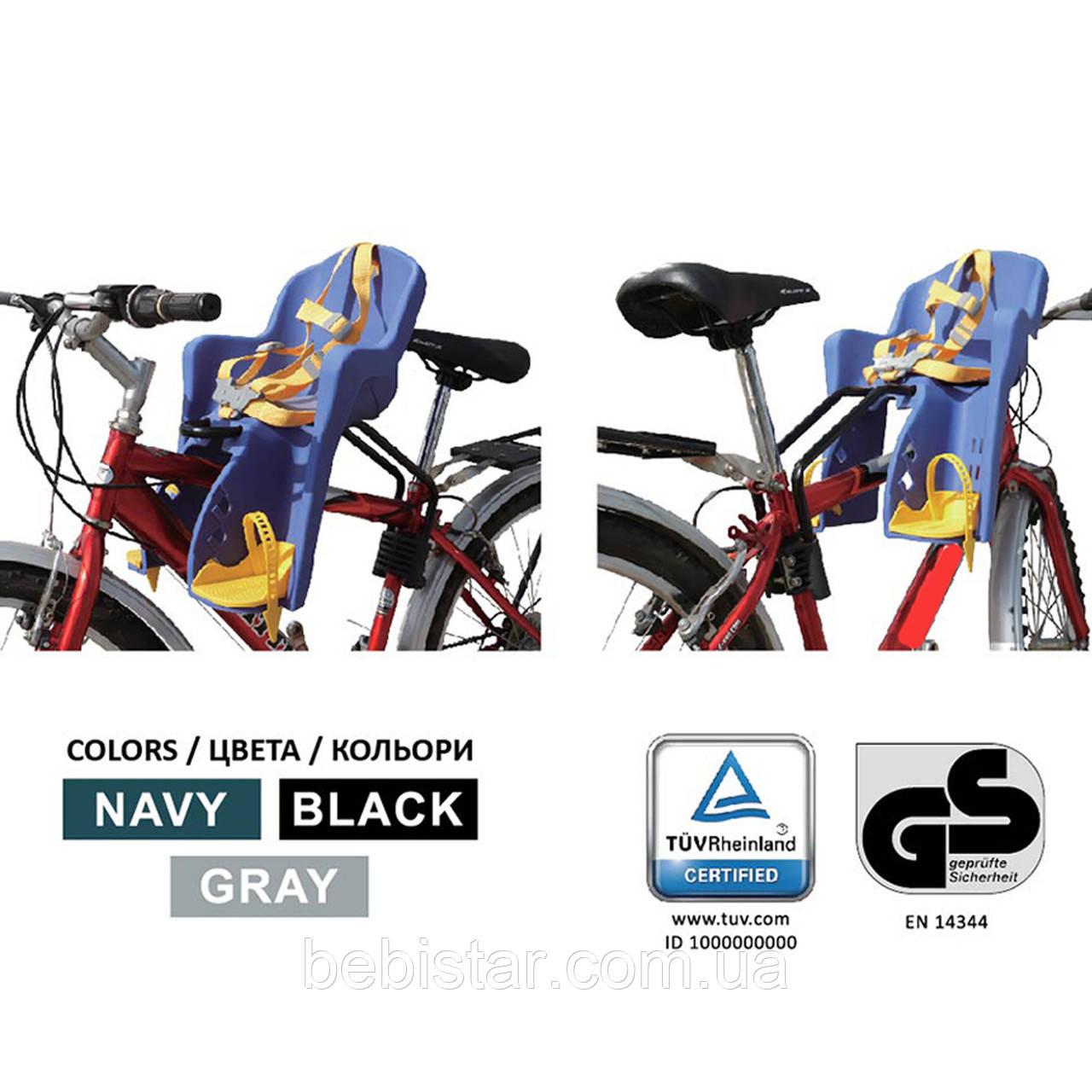 Велокресло черное TILLY T-812 с установкой спереди сидения по ходу или против движения велосипеда