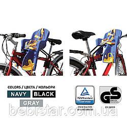 Велокресло темно-серое TILLY T-812 с установкой спереди сидения по ходу или против движения велосипеда