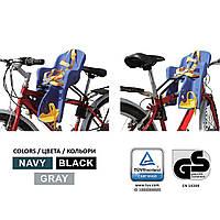 Велокресло серое TILLY T-812 с установкой спереди сидения по ходу или против движения велосипеда