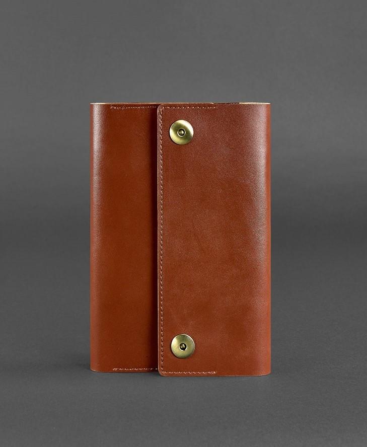 Блокнот кожаный на кнопках, софт-бук коричневый (ручная работа)