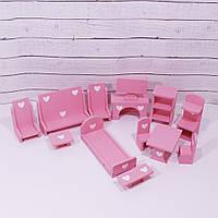 Кукольная мебель розовая Topovik Luxurious Wooden Furniture Dollhouse 007T