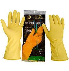Латексные перчатки, хозяйственные, прочные, Household Gloves, размер — M, фото 2
