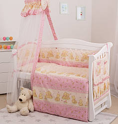 Детская постель Twins Standart С-016 мишки розовые 8 эл.(Постіль Twins Standart С-016 Ведмедики рожеві)