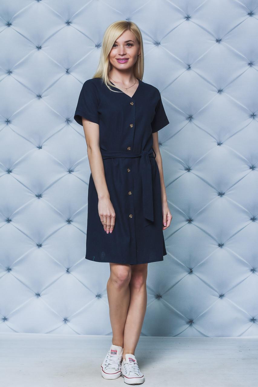Платье лен с поясом темно-синее