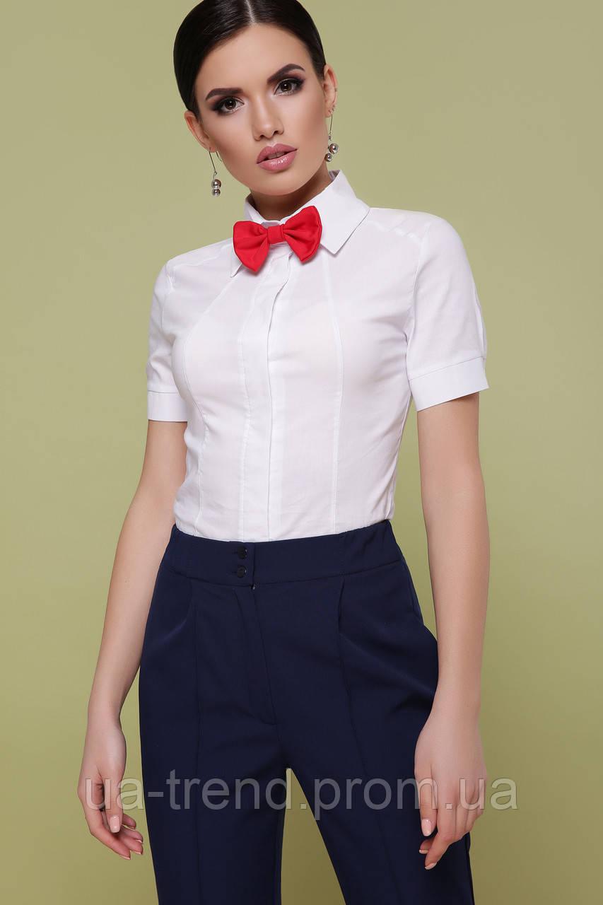 Класична жіноча біла сорочка з коротким рукавом