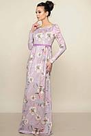 """Платье в пол """"Фиона-замш"""" лиловое  с длинным рукавом"""