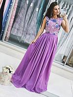 Сиреневое длинное платье на выпускной вечер с цветочной вышивкой 42-44р