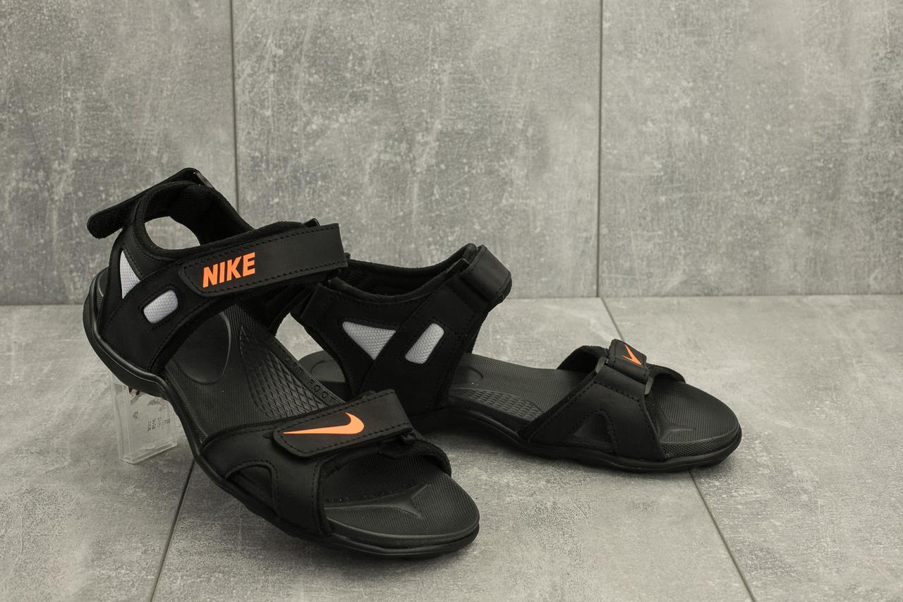 7300e98b Босоножки мужские Nike из натуральной кожи летние спортивные легкие найки  на липучке (черные),