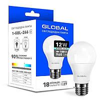 LED лампа GLOBAL A60 12W 4100K 220V E27 (1-GBL-266)