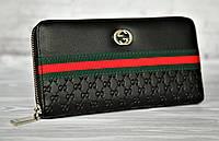 Кошелек брендовый на молнии Gucci Гуччи  клатч из эко кожи черный 19 х 10 см копия 116261, фото 1