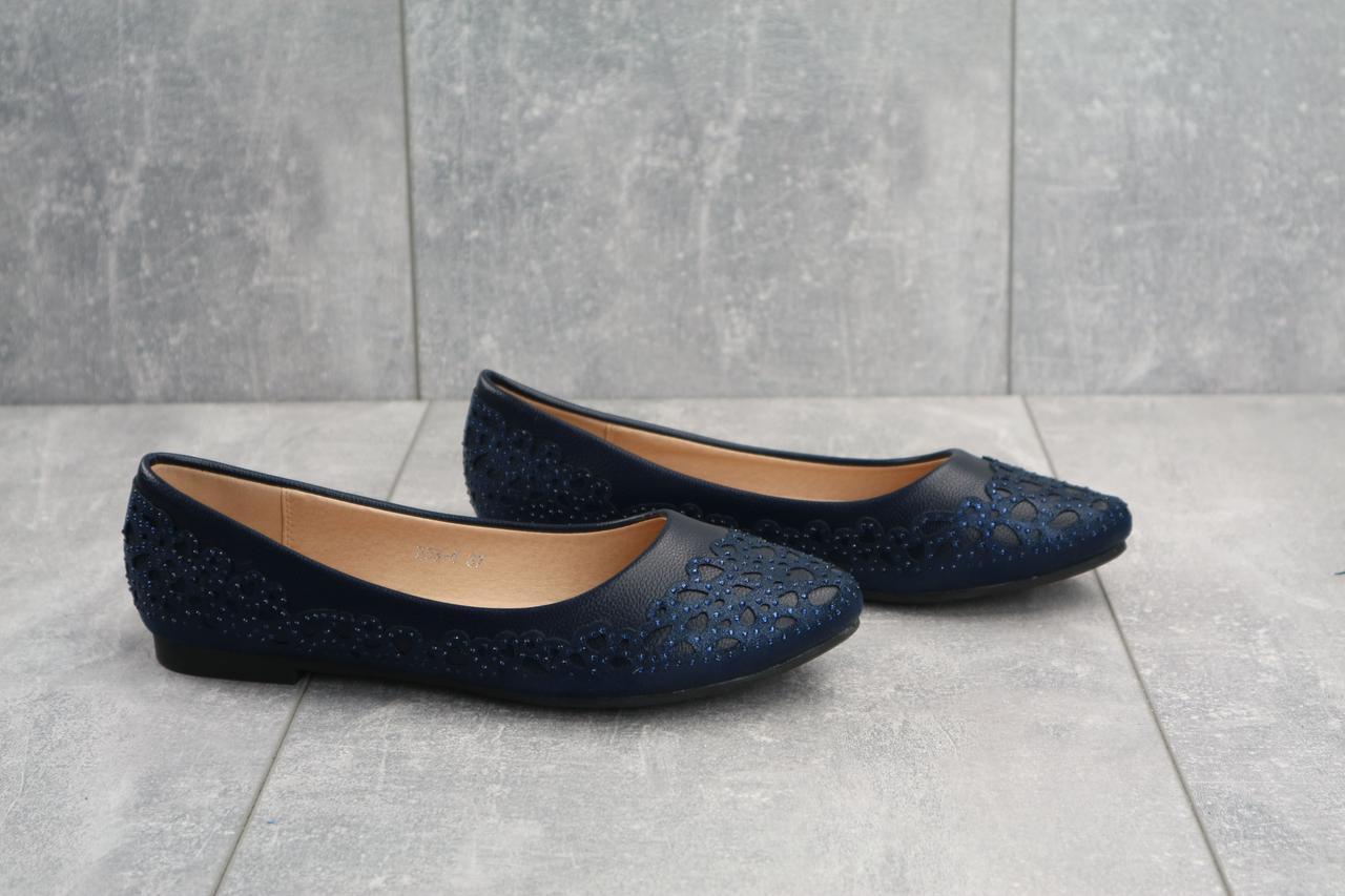 Синие женские балетки на лето стильные удобные модные в синем цвете