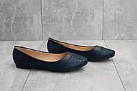 Синие женские балетки на лето стильные удобные модные в синем цвете, фото 1
