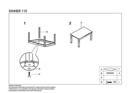 Стол раскладной Dinner 120*68(белый) (Halmar), фото 2